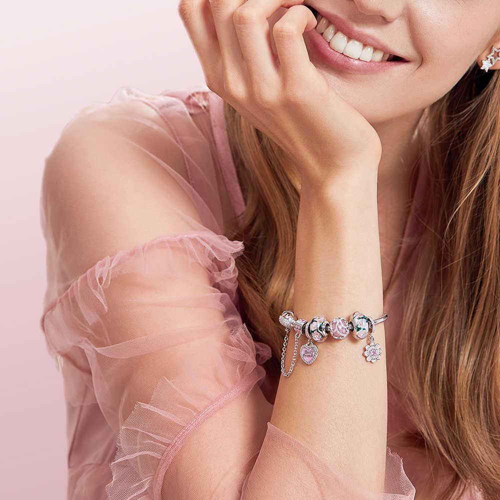 ATHENAIE אמיתי מוראנו זכוכית 925 כסף Core פרח גן קסמי חרוז Fit אירופאי צמידי שרשרת לנשים DIY תכשיטים