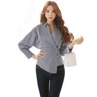 Primavera Outono Senhoras Blusa Assimétrica Tops Coreano V Profundo Neck Botões Manguito Bolso Manga Comprida Blusa Escritório Camisa Blusa