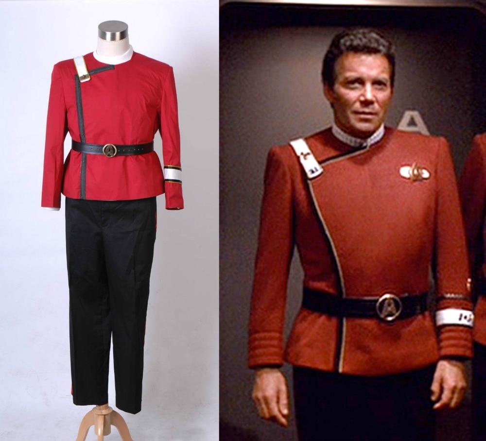 Star Trek Cosplay Wrath of Khan starfleet Costume Full Set Uniform Suit Outfit Halloween Cosplay Costume Customized Men