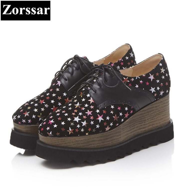 {Zorssar} Ladies Shoes Wedges High Heels Platform pumps Fashion stars Genuine Leather lace up Square toe womens Wedge heels zorssar autumn ladies shoes wedge high heels women platform pumps fashion casual lace up genuine leather suede womens shoes