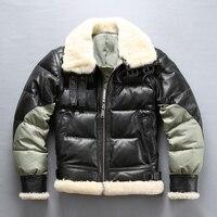 Brand keep warm men's genuine goat leather down jacket vintage classic designer sheep skin autumn winter luxury coat large size