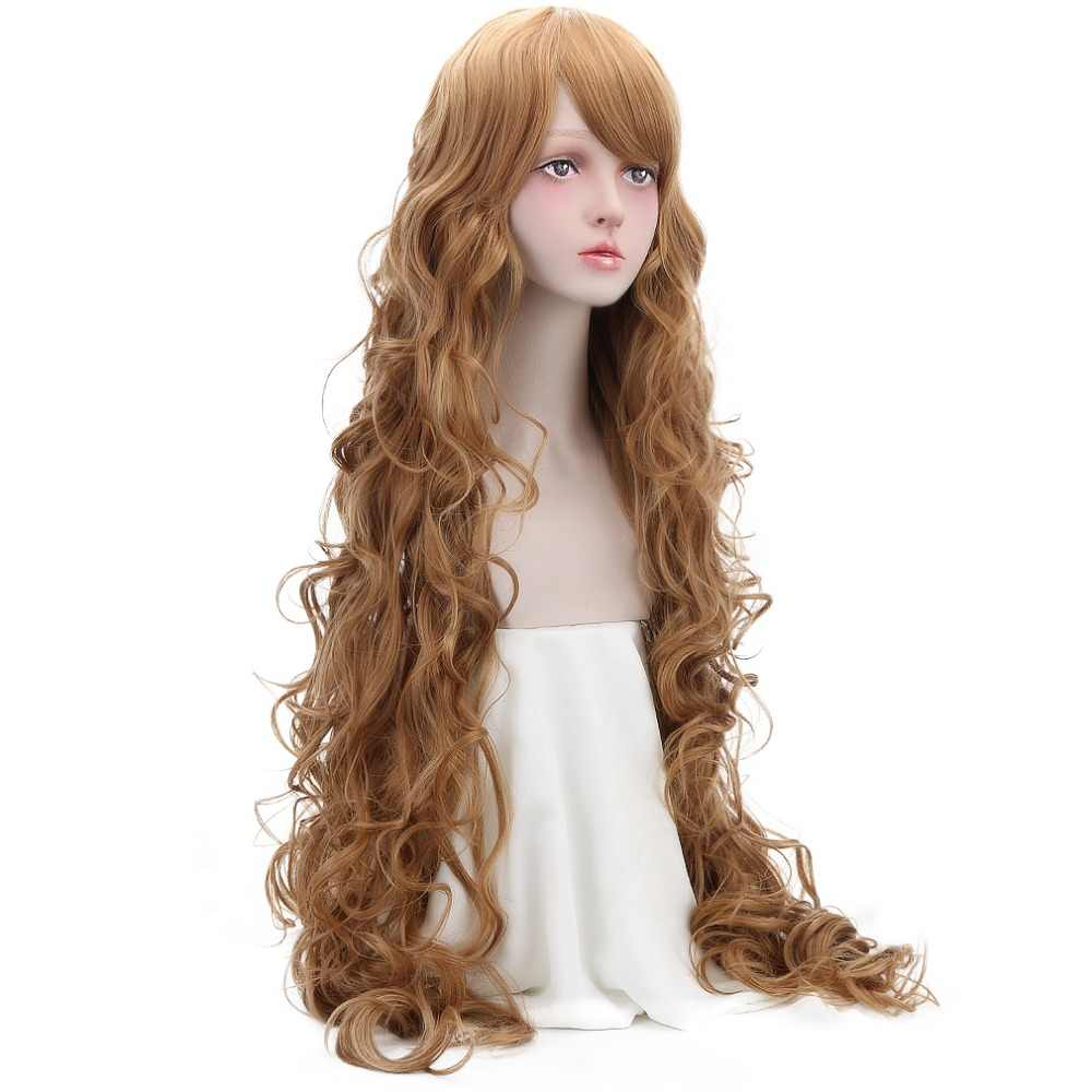 Free Beauty Long Wavy Synthetic Brown Blonde Wigs with Side Bangs for Women Rapunzel Cosplay Party Fairy Tales Costume Make Up