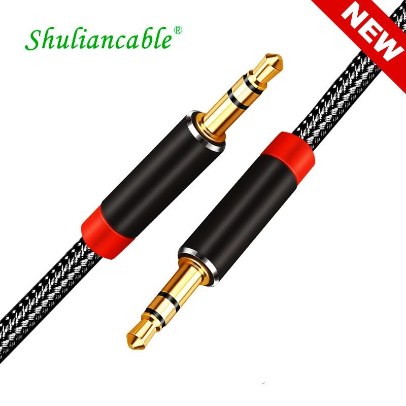 Shuliancable AUX кабель Jack 3,5 мм аудио кабель 3,5 мм разъем спикер нейлоновая оплетка Кабель 1 м 2 м 3 м 5 м для наушников Aux шнур