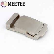 Meetee 1pc 38mm Mens Stainless Steel Belt Buckle Toothless Automatic DIY Simple Fashion Leather Craft Decoration YK002