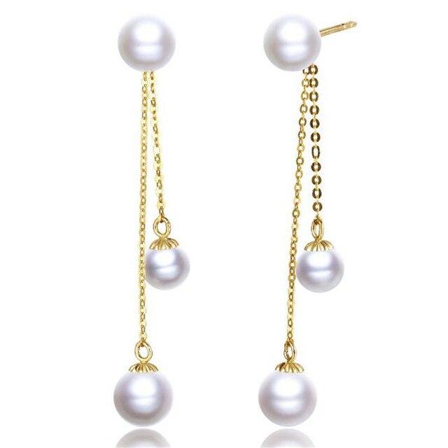 18k Yellow Gold Drop Earrings Natural Cultured Freshwater Pearl For Women Wedding Long Dangle Ear Wear Jewelry Gifts