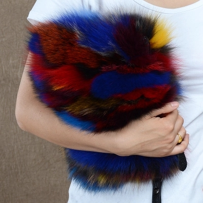 Nature fox fur women clutch bags Genuine Leather patchwork party bag chians shoulder bag winter female purse crossbody bag