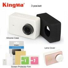Kingma Xiaomi Yi 4 k Écran Protecteur Film + Xiaomi Yi 4 K II Silicone Cas + Lens Cover Pour Xiaomi yi 4 K Camera Action 2 Accessoires