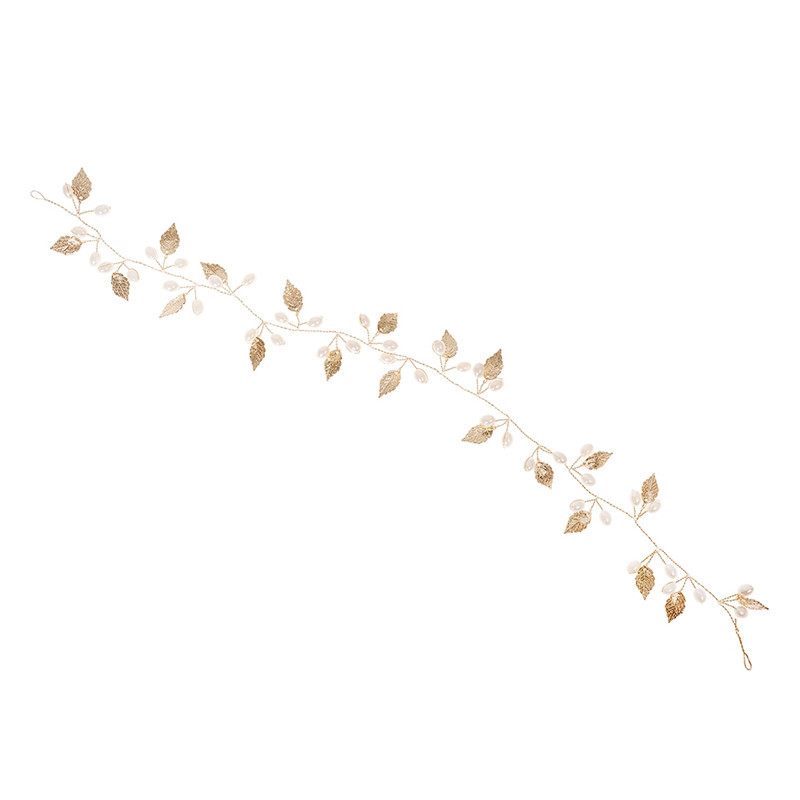 Creative Design Hair Chain Copper Leaves Water Drop Simulated Pearl Lovely Long Hair Girls Headwear Jewelry Accessories