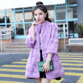 Fashion wave cut whole skin genuine rabbit fur winter coat women stand collar 3/4 sleeve real fur coats and jackets 2017 new