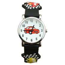 Fashion Children Quartz Watch Cartoon 3D Watches Bright Color Stylish Analog Racing car  jelly waterproof Watches