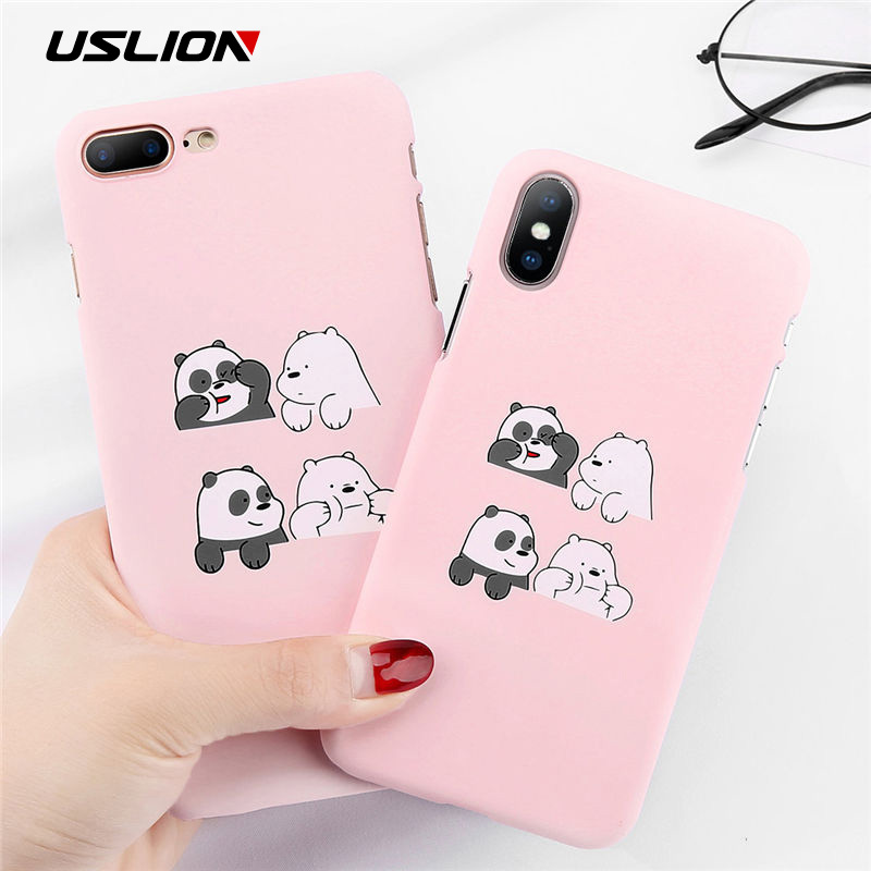 USLION Funny Cartoon Panda Phone Case For iPhone 7 Plus Love Heart Cases For iPhone X 8 7 Plus Matte Hard PC Back Cover Coque