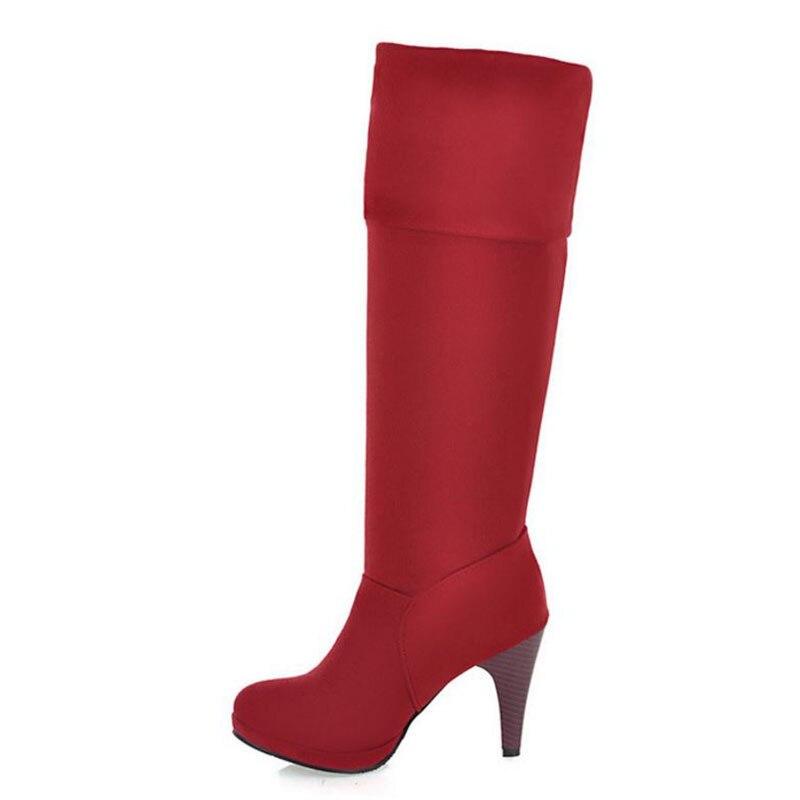 De Invierno Negro rojo Cristal Señora Piel Caliente Fiesta Las Tacón La 43 Alto Calzado marrón Oficina Rodilla Moda Mujeres gris 33 Tamaño Kemekiss Botas Zapatos pdS71n66