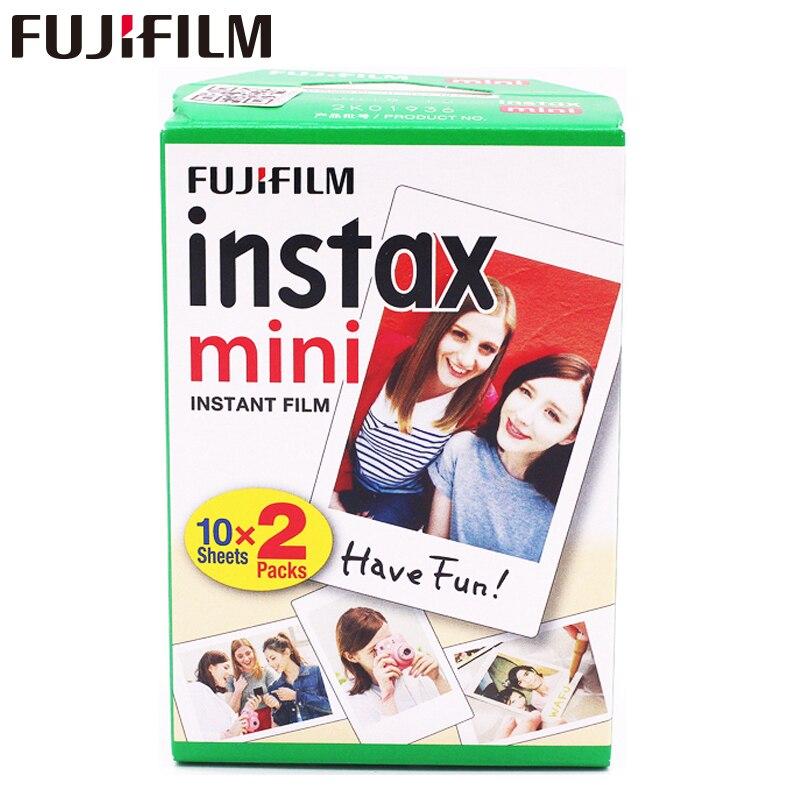 20 unids/caja Fujifilm instax mini 8 9 película 20 hojas para la cámara instantánea mini 7 s 25 50 S 90 papel fotográfico blanco borde 3 pulgadas ancho película