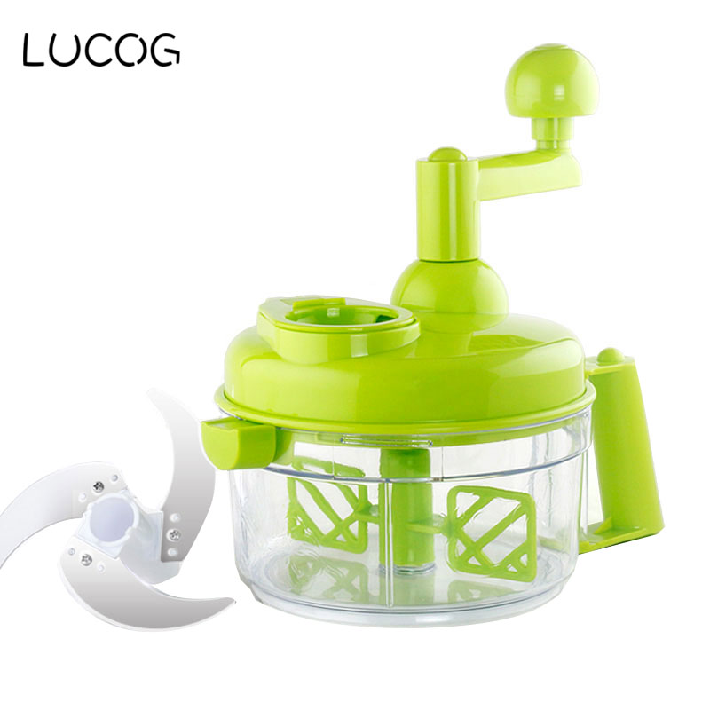 LUCOG Kitchen Household Cutting Machine Hand-cranked Meat Pepper Grinder Vegetable Slicer Machine with Stainless Steel Blade