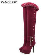 VAMOLASC New Women Autumn Winter Warm Faux Suede Over the Knee Boots Rabbit Fur Thin High Heel Boots Women Shoes Plus Size 34-43