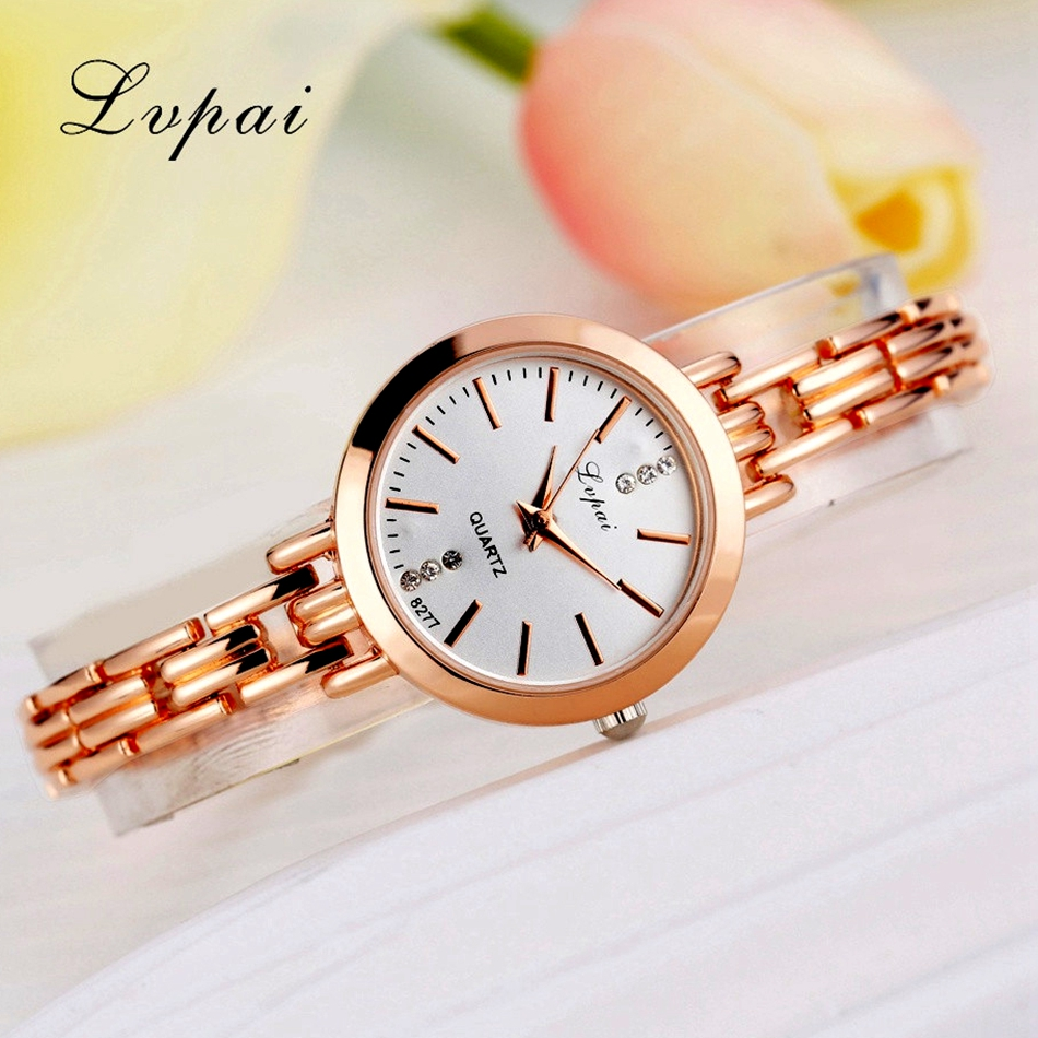Lvpai Brand Gold Plated Bracelet Watches Women Luxury Dress Fashion Sport Wristwatch Ladies Dress Business Quartz Watch LP023 fashion casual rose gold sport watch women quartz watch lvpai brand luxury bracelet watches alloy dress ladies female wristwatch