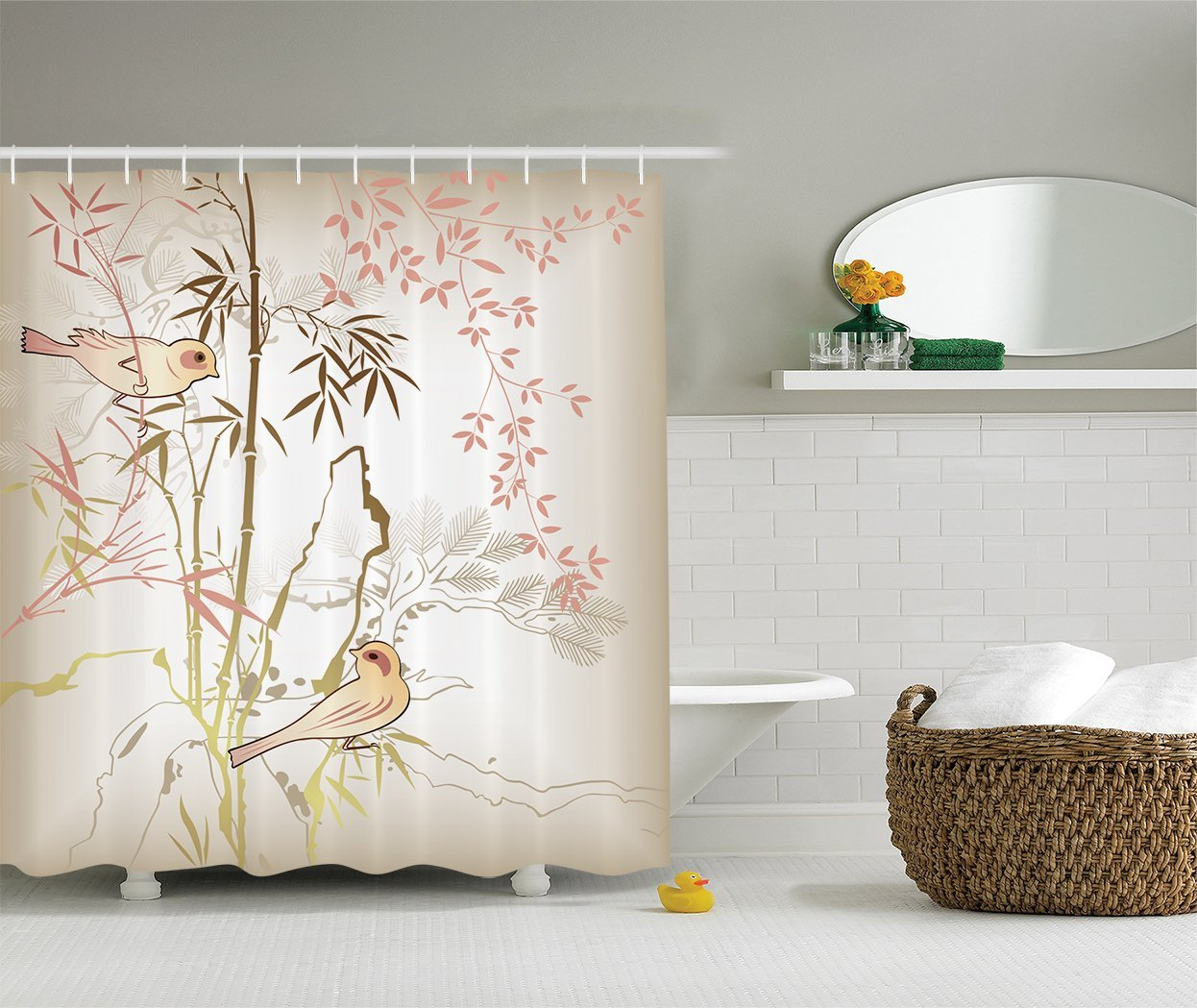Vintage shower curtains - Charmhome Ambesonne Vintage Bamboo Polyester Shower Curtain With Hooks Pink Ecru Khaki