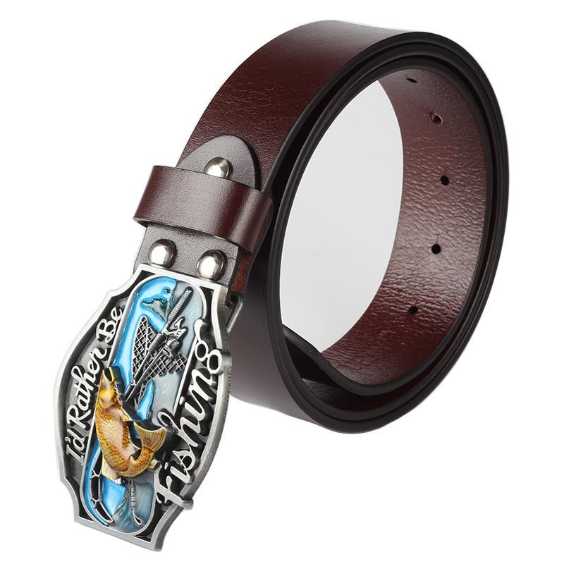 Fisherman special belt decoration DIY belt buckle Metal buckles I'd rather be fishing Belt wobblers Belt fishing lure fish reel belt cp v2 metal