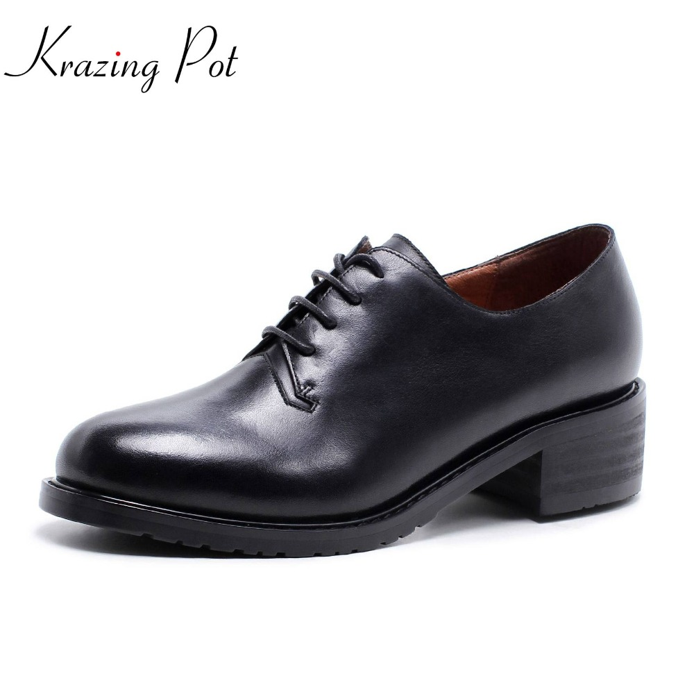 Krazing 2018 cow leather round toe lace up preppy style solid fashion shoes women med heels women summer comfortable shoes L8f6 new arrivals 2016 l solid plain lace up round toe platform flat heels comfortable flats sale women fashion shoes