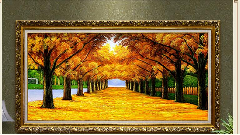 GOLD ROAD Golden Tree Paintings Uprising Oil Painting Hang