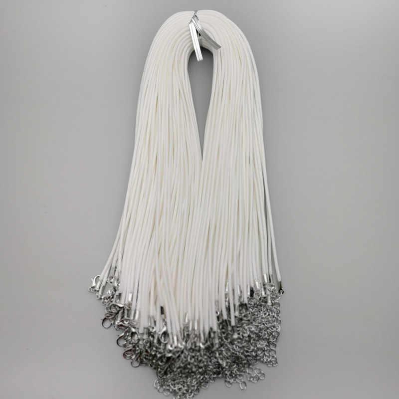 """אופנה 2 מ""""מ לבן אבזם לובסטר שעווה עור שרשרות שרשראות חבל תליון עבור תכשיטי ביצוע diy קסם אבזרים סיטונאי"""