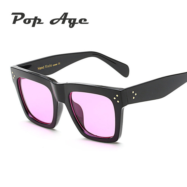 13ca201911e Pop Age Wholesale Fashion Rivet Shades Square Sunglasses Men Women Brand  Designer Sun Glasses Eyeglasses Oculos (A lot 3 Pieces)