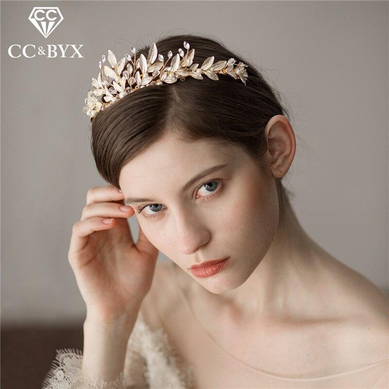 CC bijoux de mariage couronnes et taiars bandeaux perle accessoires de cheveux de fiançailles de luxe pour mariée cubique zircon brillant feuille O398