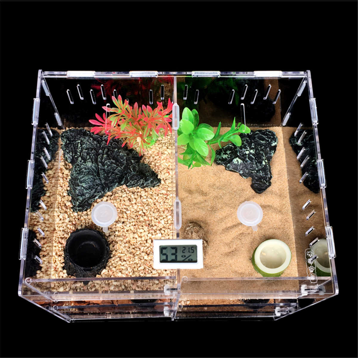 Pet Reptiles Tank Acrylic Terrarium Insect Spiders Lizard Breeding Box House Cage 2 Grids Pet Reptiles Terrariums Transparent