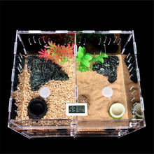 Pet Reptiles Tank Acrylic Terrarium Insect Spiders Lizard Breeding Box House Cage 2 Grids Pet Reptiles Terrariums Transparent(China)