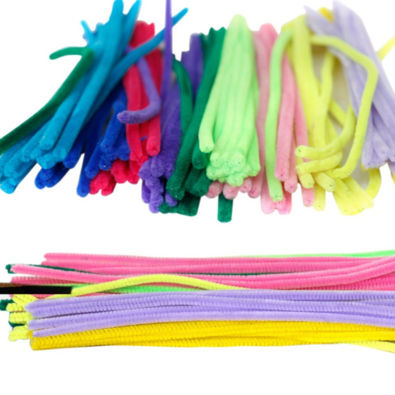 100PCS 30cm DIY Handmade DIY Craft Chenille Stick Pipe Cleaner Kids Toys Artificial Flowers Colorful Plush Iron Wire Flocking