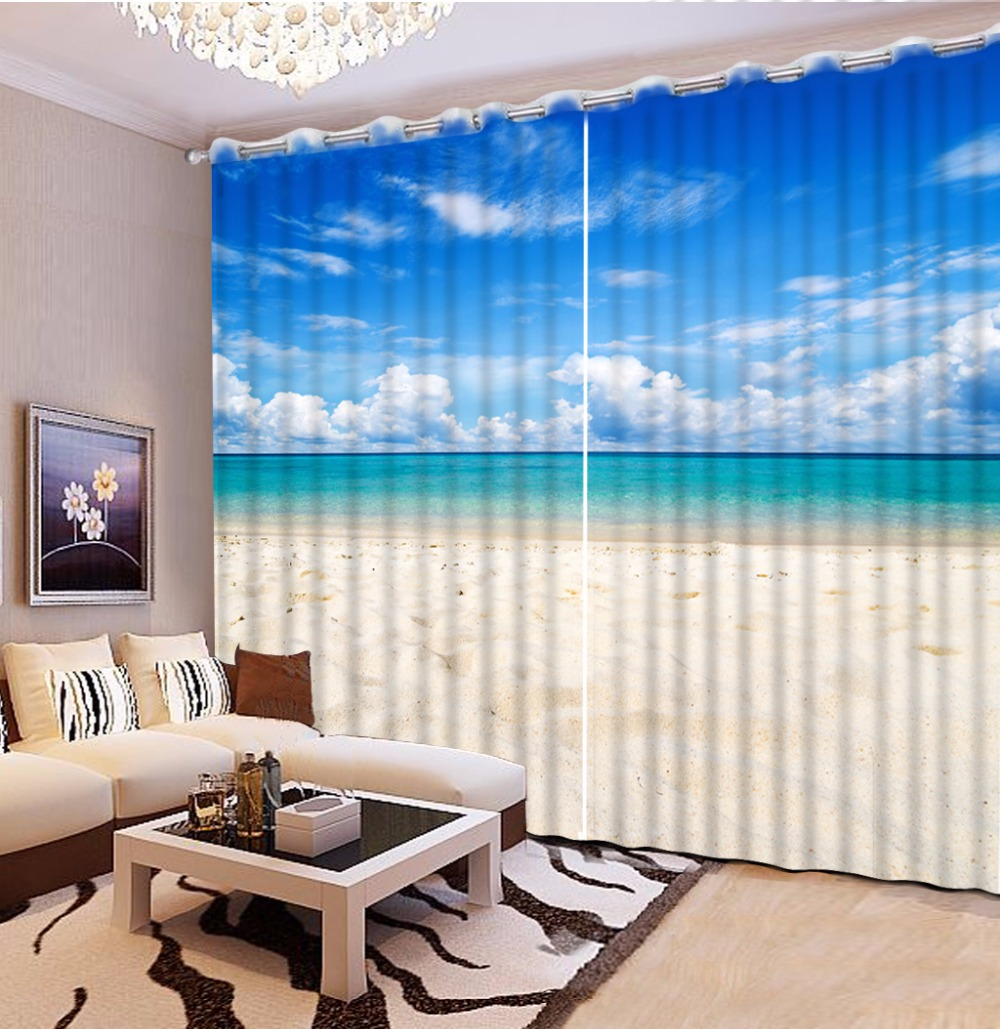 European and American style 3D Curtain blue sky big sea Living Room Bedroom Window Blackout Curtains European and American style 3D Curtain blue sky big sea Living Room Bedroom Window Blackout Curtains