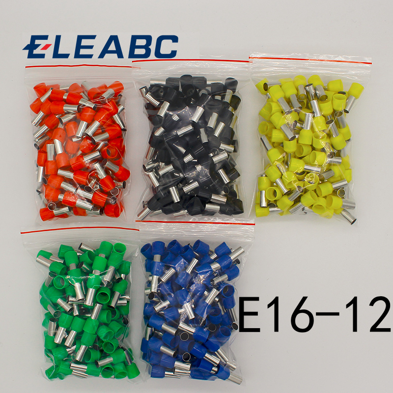 E16-12 Tube insulating Insulated terminals 16MM2 Cable Wire Connector Insulating Crimp Terminal 100PCS/Pack Connector E-