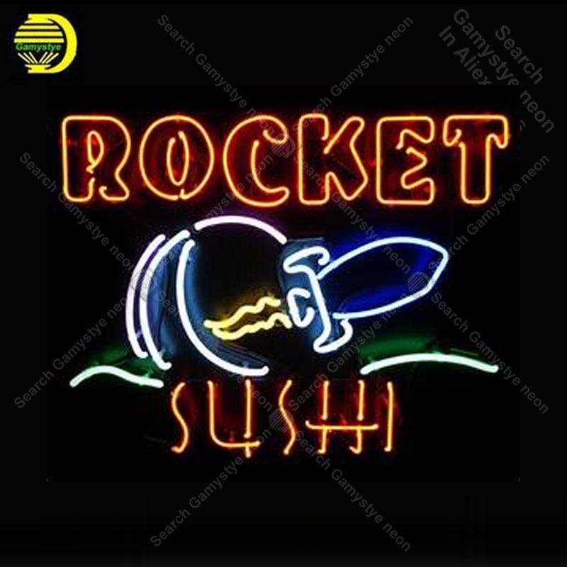 Enseigne au néon pour fusée Tube de verre Sushi votre LOGO magasin affichage décor artisanat Restaurant lumière signe lampes lampes anuncio luminoso