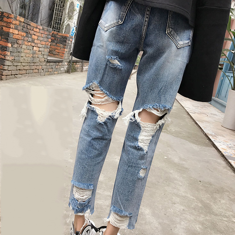 Tattered Jeans Woman Distressed Ripped Jeans For Women High Waist Boyfriend Jeans Women Destroyed Jeans With Hole In The Back