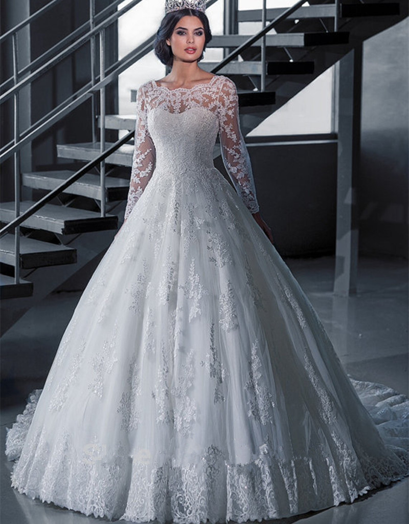 Hot Style Long Sleeve Bridal Wedding Dress Princess Ball Gown ...