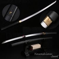 Imitated Bamboo Sword Real Japanese Samurai Shirasaya High Carbon Steel Wood Sheath With Black Painting Metal Craft Sharp