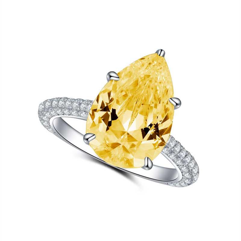 COLORFISH 925 เงินสเตอร์ลิง Zircon Pear Cut 5 ct แหวน 3 แถว Delicated pave band หินสีเหลืองหมั้นแหวน-ใน แหวนหมั้น จาก อัญมณีและเครื่องประดับ บน AliExpress - 11.11_สิบเอ็ด สิบเอ็ดวันคนโสด 1