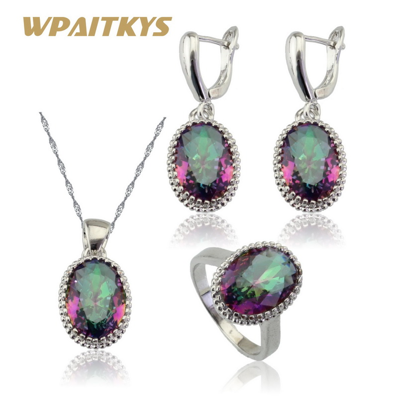 WPAITKYS Multicolor Rainbow Crystal Wedding Silver Color Jewelry Sets For Women Earrings Necklace Pendant Ring Free Gift Box