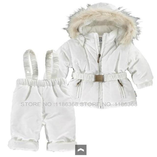 New 2016 Children's Winter Clothing Set Boy Girl baby kids clothes Suit Windproof  Coats  Jackets+Bib Pants child ski set