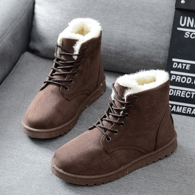 Women Boots Warm Winter Boots Female Fashion Women Shoes Faux Suede Ankle Boots For Women Botas Mujer Plush Insole Snow Boots 1