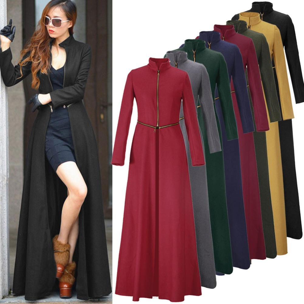 Luxury  Long Sleeve Pure Color Self Tie Belt Women39s Coat Dress  TwinkleDeals