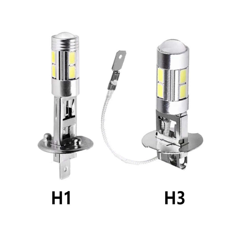 2pcs H1/H3 COB LED Super Bright Long Life White Canbus 10SMD 5630/5730 Replacement Bulbs For Car Fog Lights Running Lights Lamps