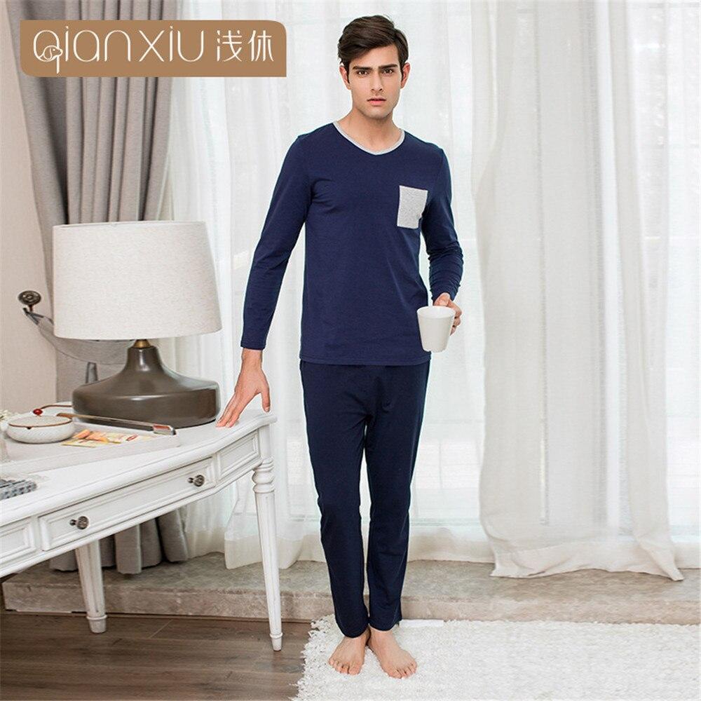 QIANXIU Mens Sleepwear Cotton Short-Sleeve Blud Top with Black Shorts Cozy Pajama  Set S-XL Sleep & Lounge Sleep Sets