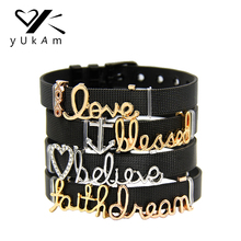 YUKAM Jewelry Crystal Love Hearts XOXO Anchor Blessed Believ