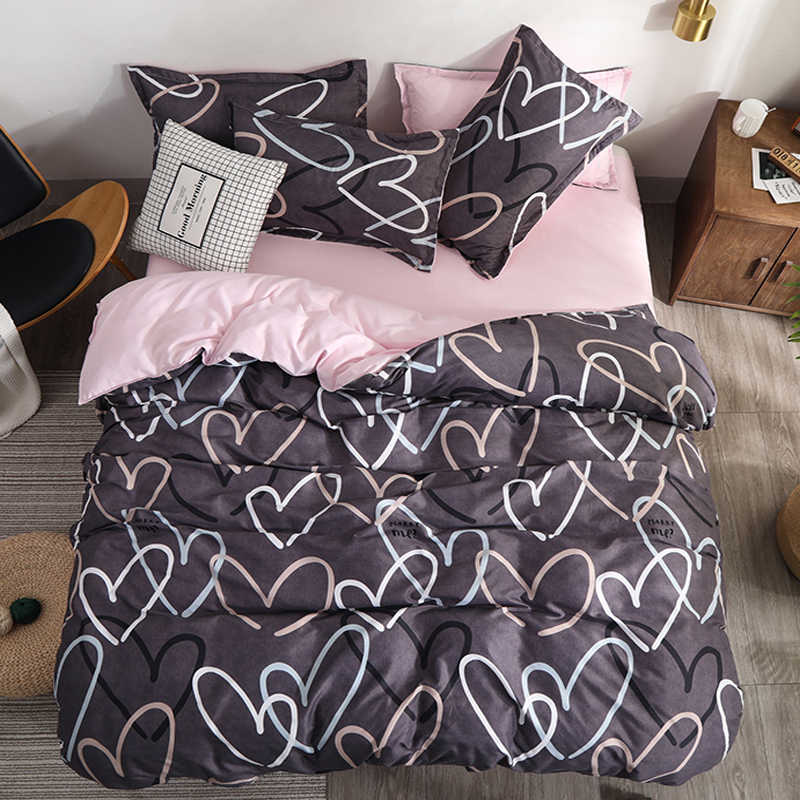 Bedding Set luxury love 3/4pcs Family Set Sheet Duvet Cover Pillowcase Boy Girl flat sheet, Spring Autumn Flower Series bed set