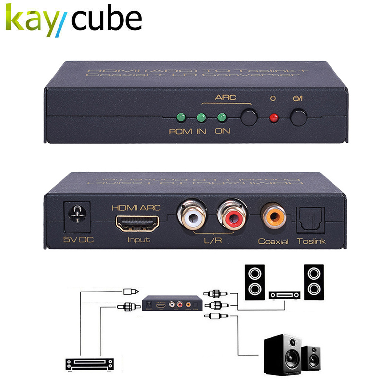 Kaycube HDMI ARC To Toslink + Coaxial + L/R Converter HDMI ARC Audio Extractor,Ship with Power Adapter and Toslink cable Adaptor
