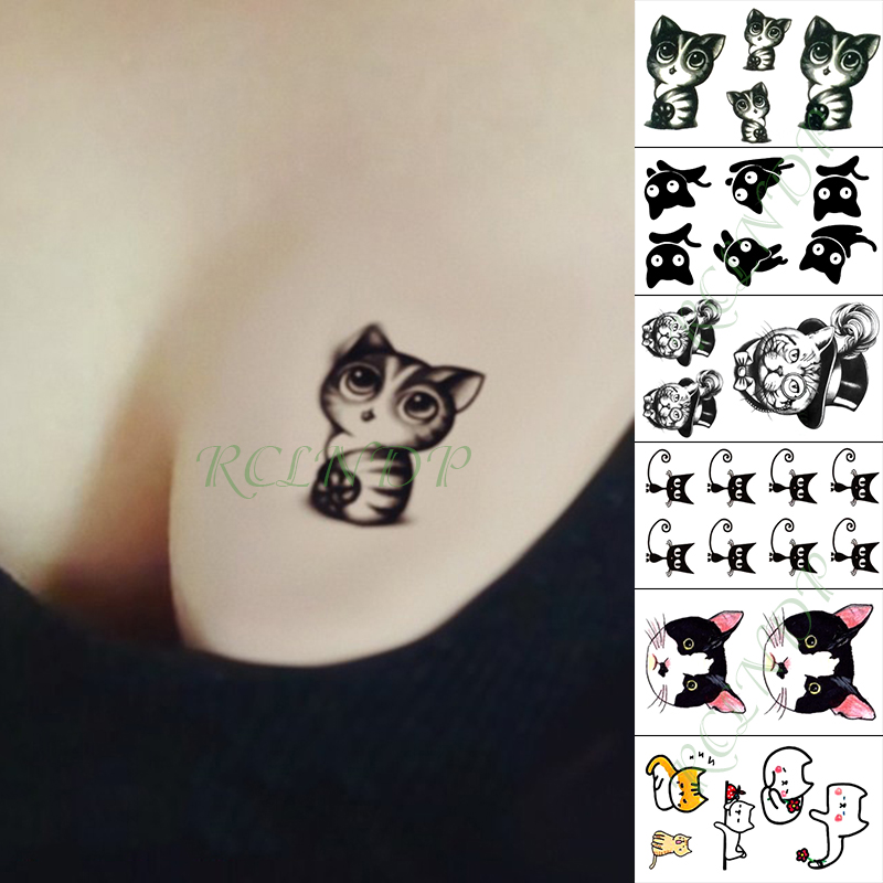 Waterproof Temporary Tattoo Sticker Lovely Cat Big Eyes Cats Fake Tatto Finger Hand Arm Foot Flash Tatoo For Kid Girl Men Women