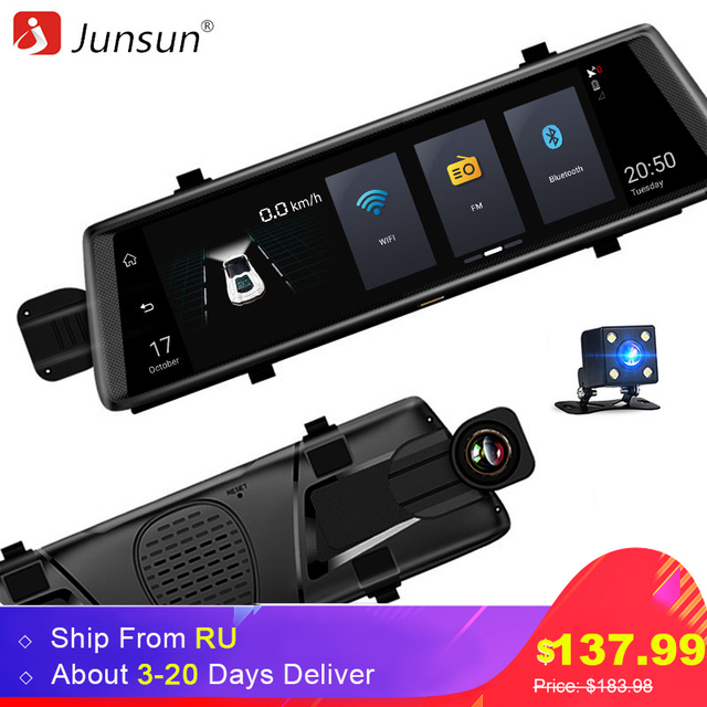 """Junsun A900 Автомобильные видеорегистраторы 10 """"полный Сенсорный экран 3 г Android GPS навигаторы FHD 1080 P dashcam Зеркало заднего вида Wi-Fi потоковое media"""