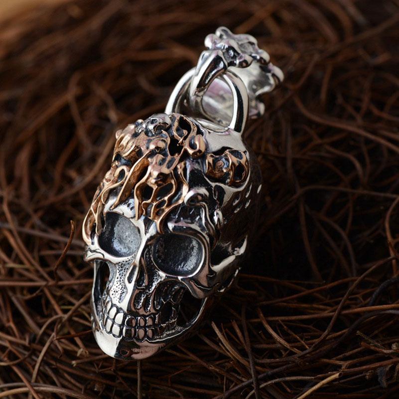 FNJ 925 Silver Skull Pendant New Fashion Skeleton Pure S925 Solid Thai Silver Pendants for Women