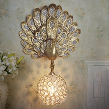 Modern Golden peacock wall lamp crystal ball aisle light fixture surface mounted sconces